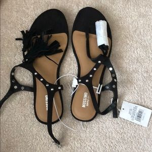 Black Sandals with Studs and Tassels